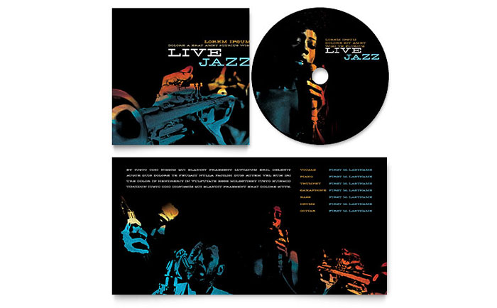 Jazz music event cd booklet template design for Cd inlay template