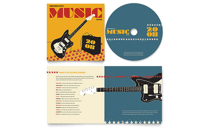 Live music festival event cd booklet template design for Cd liner notes template word