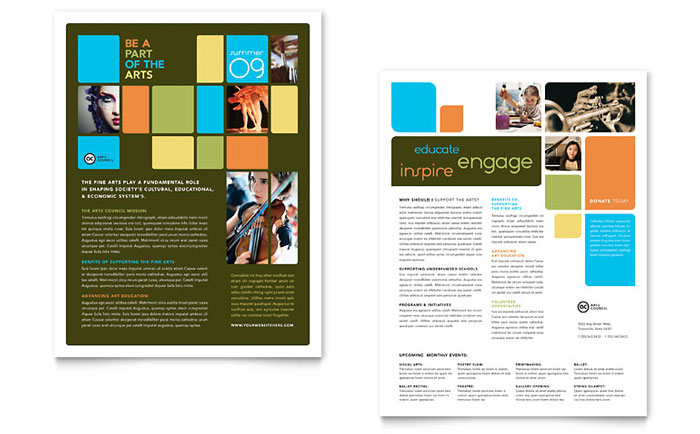 Arts Council & Education Datasheet Template Design