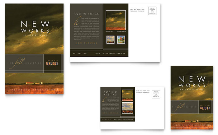 music brochure templates - art gallery artist postcard template design
