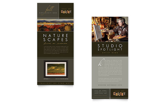 Art gallery artist rack card template design for Art brochure templates free