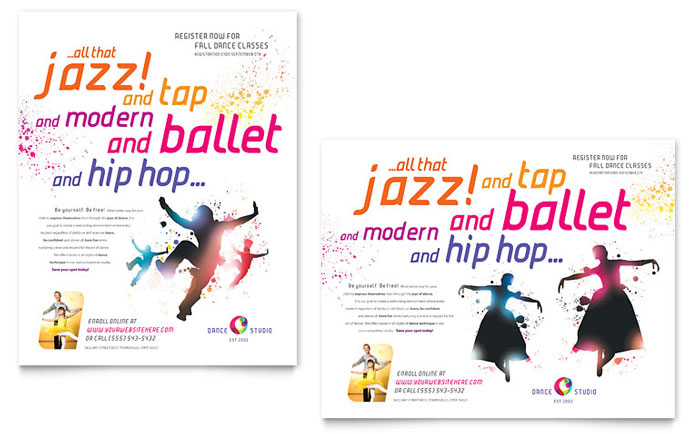 Dance Studio Flyer & Ad Template Design