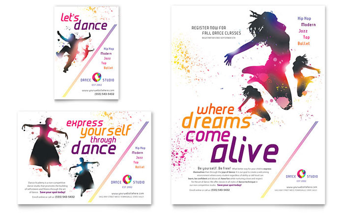 Dance studio flyer ad template design for Ad designs