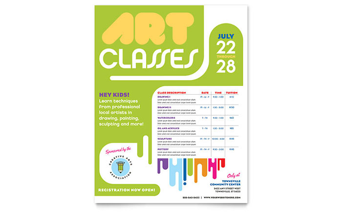 Kids Art Camp Class Flyer Template Design