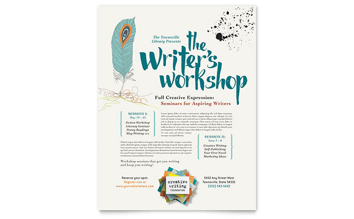 writer u0026 39 s workshop flyer template design