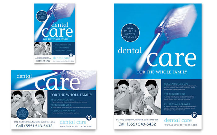 Dentist office flyer ad template design for Ad designs