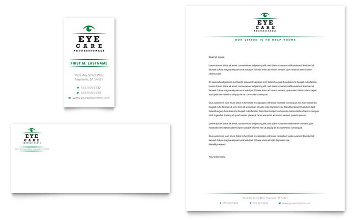 Optometrist & Optician Business Card & Letterhead Template Design