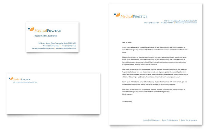 Medical Practice Business Card Amp Letterhead Template Design