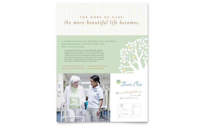 Elder care nursing home flyer template design for Home care brochure template