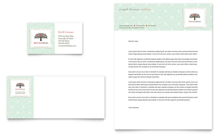 senior care services business card  u0026 letterhead template