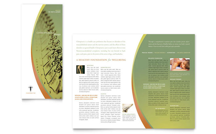 free massage therapy brochure templates - massage chiropractic tri fold brochure template design