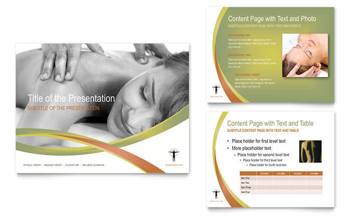 Massage chiropractic powerpoint presentation template design for Massage brochure template