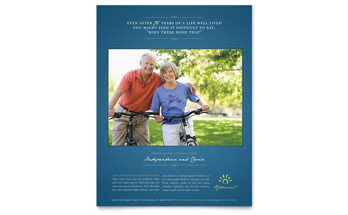 senior living community flyer template design