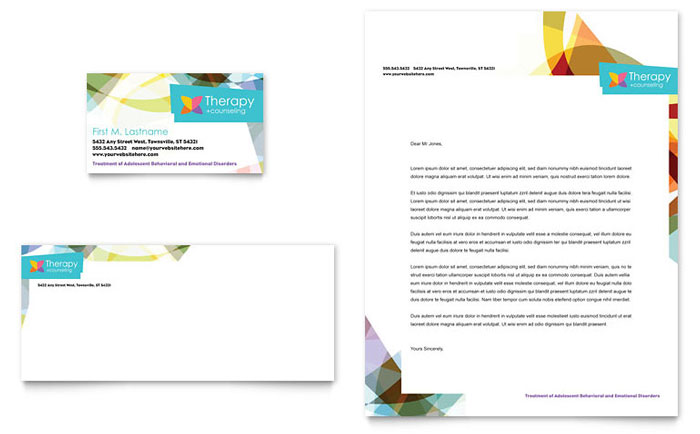 adolescent counseling business card  u0026 letterhead template