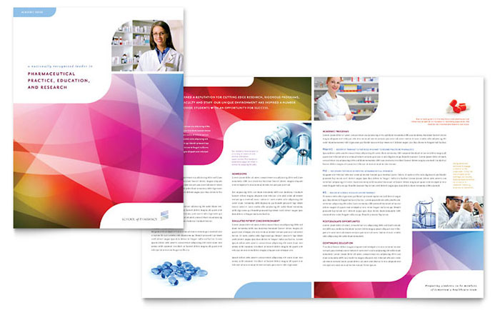 Pharmacy school brochure template design for College brochure design pdf