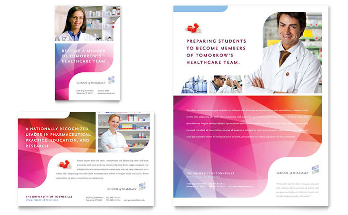 Pharmacy school flyer ad template design for Pharmacy brochure template