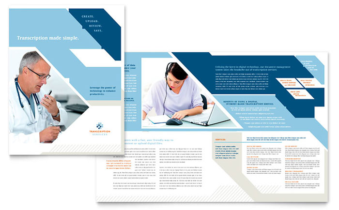Medical Transcription Tri Fold Brochure Template Design – Illustrator Brochure Template