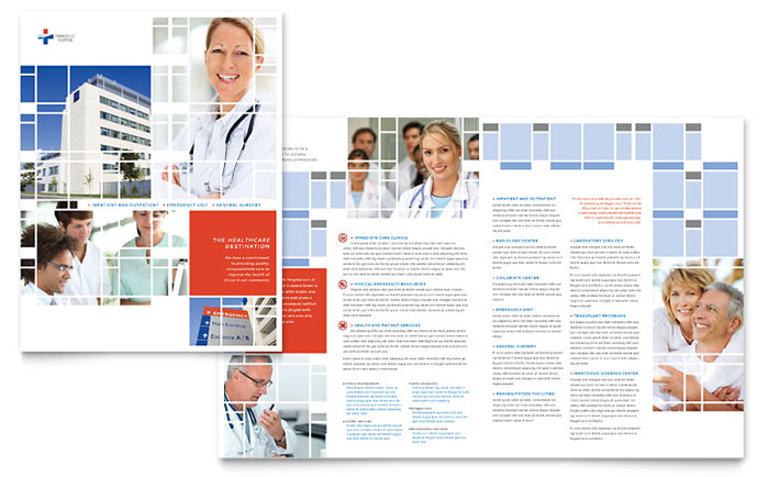 Hospital brochure template design for Hospital menu template