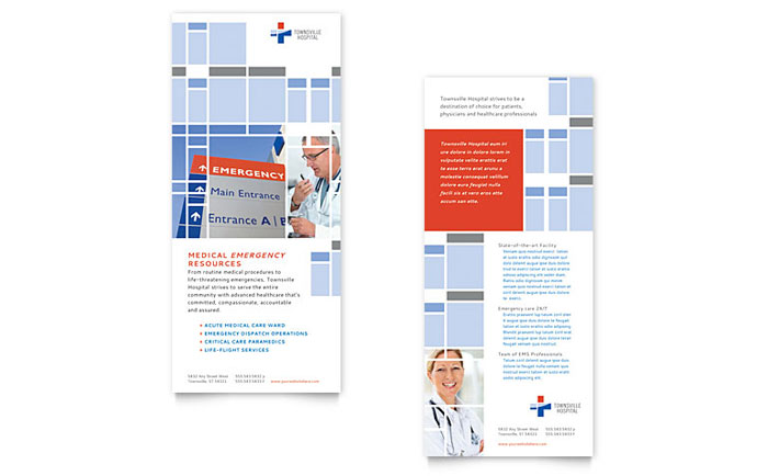 Hospital rack card template design for Rack card template for word