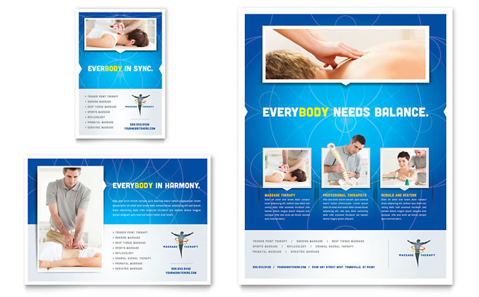 reflexology massage flyer ad template design