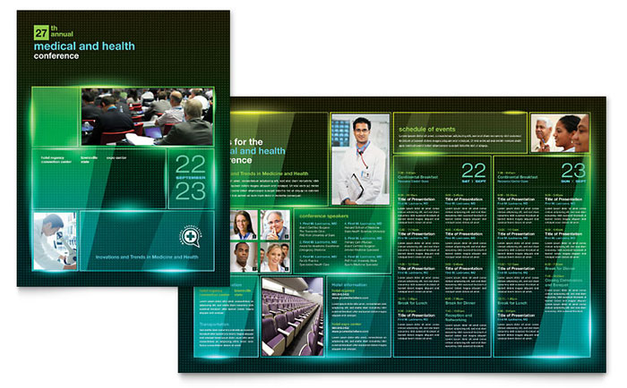 medical conference brochure template design