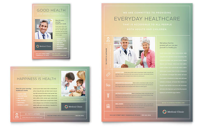 Medical clinic flyer ad template design for Health pamphlet template