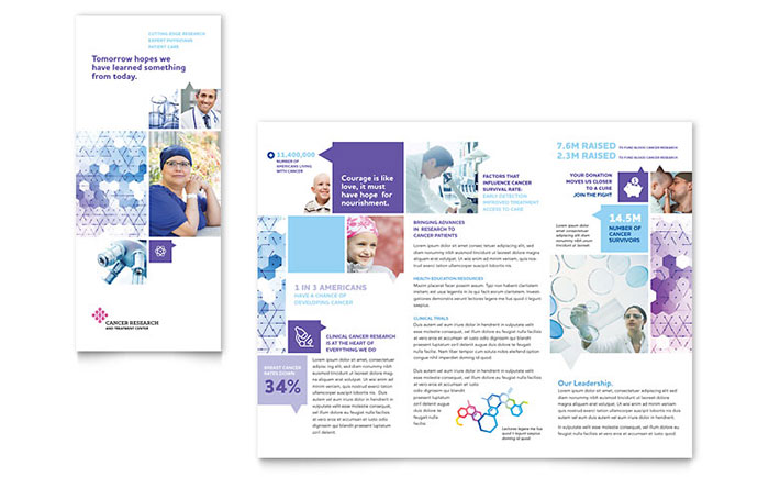cancer treatment tri fold brochure template design. Black Bedroom Furniture Sets. Home Design Ideas