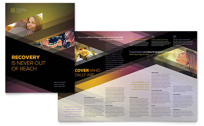 brochure design for training institute - rehab center brochure template design