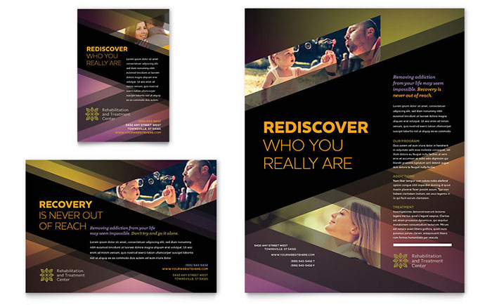 rehab center flyer amp ad template design