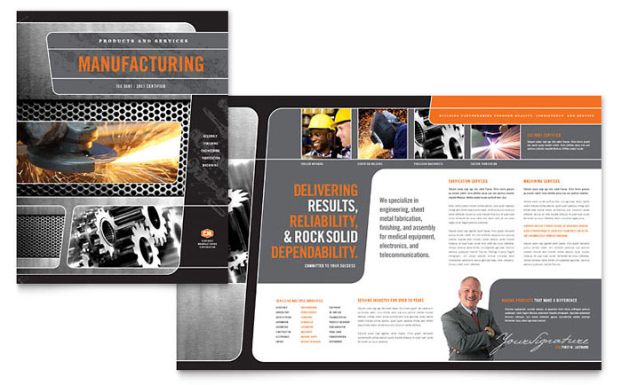 Manufacturing engineering brochure template design for Industrial design company