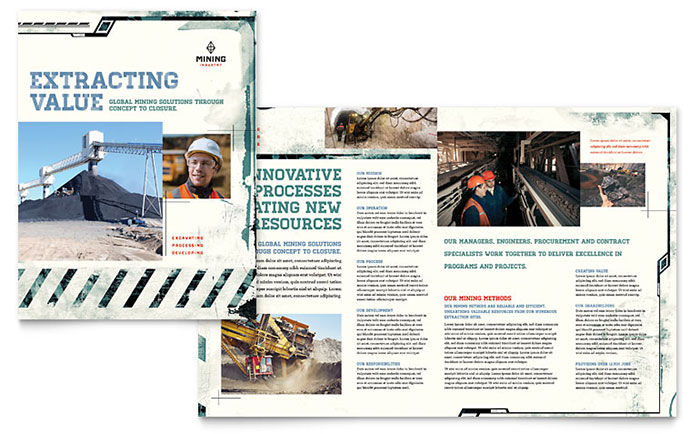 Super Auto Sales >> Mining Company Brochure Template Design