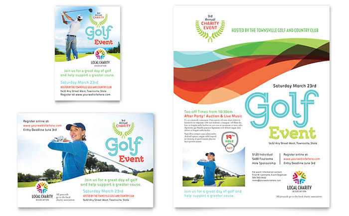 charity golf event flyer  u0026 ad template design