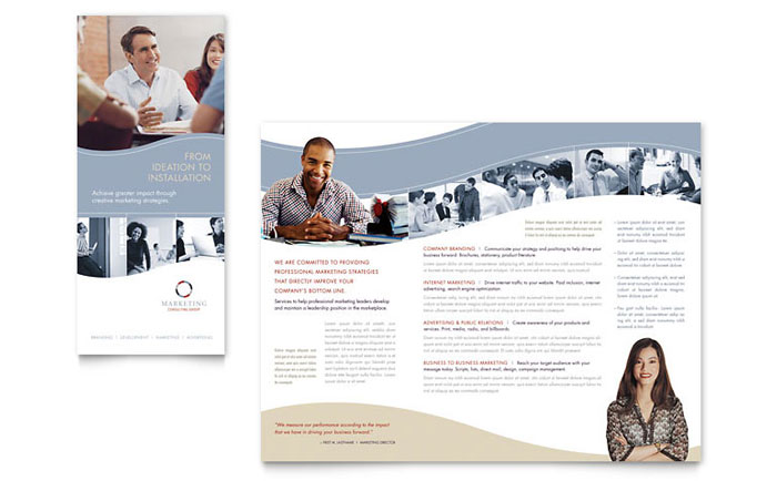 Marketing consulting group brochure template design for Marketing brochure template