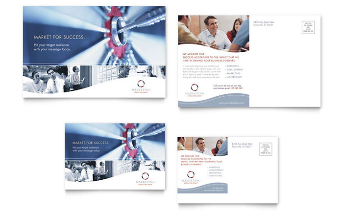 Marketing Consulting Group Postcard Template Design