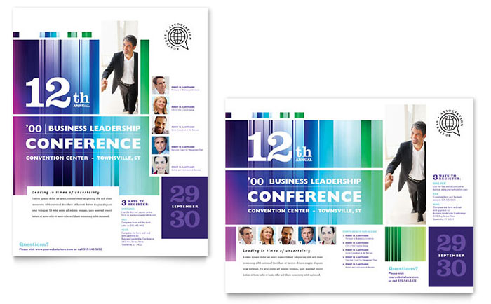 Business Leadership Conference Poster Template Design