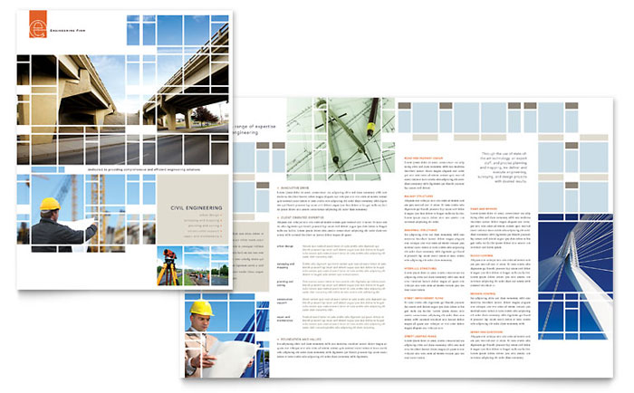 Civil engineers brochure template design for 11x17 half fold brochure template