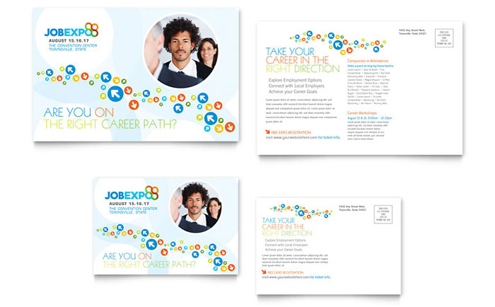 6x4 postcard template - job expo career fair postcard template design