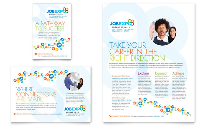 Job expo career fair flyer ad template design for Job fair brochure template