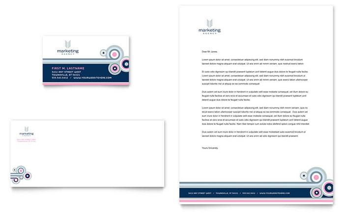 marketing agency business card  u0026 letterhead template design