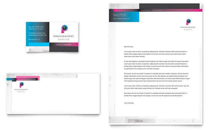 Photography Business Business Card & Letterhead Template Design