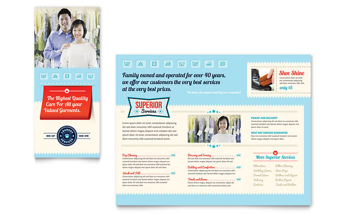 laundry flyers templates - laundry services brochure template design