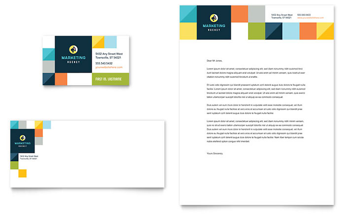 Advertising Company Business Card Letterhead Template Design – Stationery Templates for Designers