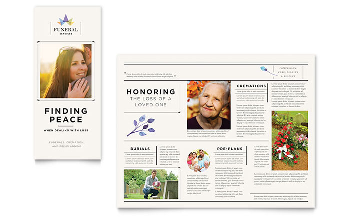 Funeral services brochure template design for Funeral brochure template