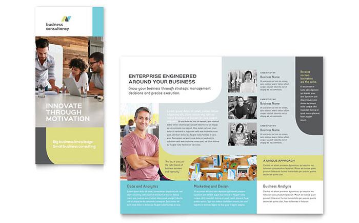 small business consultant tri fold brochure template design. Black Bedroom Furniture Sets. Home Design Ideas