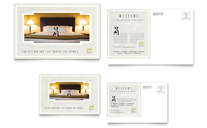 pet hotel  u0026 spa postcard template design