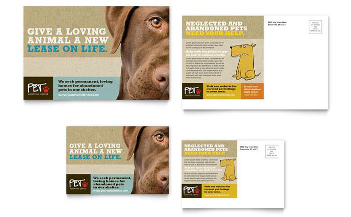 animal shelter  u0026 pet adoption postcard template design
