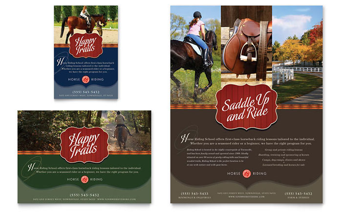 Horse riding stables camp flyer ad template design for Horseback riding lesson gift certificate template