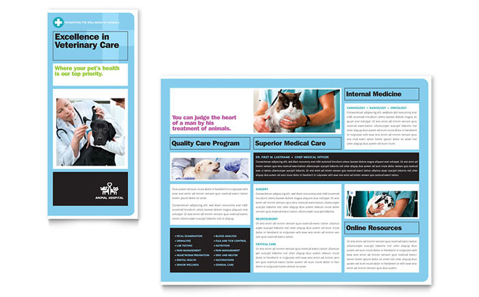 Animal Hospital Tri Fold Brochure Design