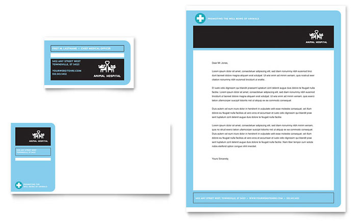 animal hospital business card  u0026 letterhead template design