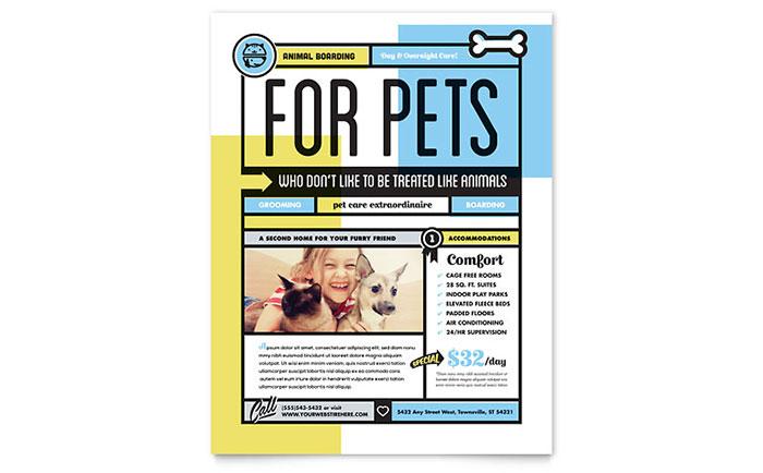 pet boarding flyer template design